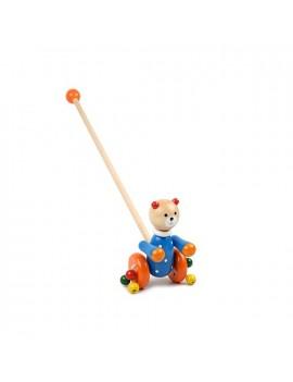 Дървена играчка за бутане: Мечо, Pino