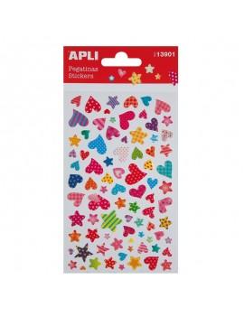 APLI 13901 Самозалепващи епокси стикери - Сърца и звезди