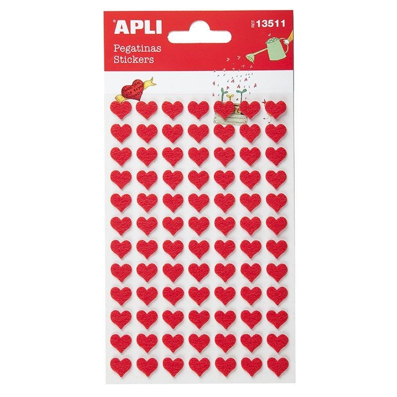 APLI 13511 Самозалепващи стикери - Червени сърца