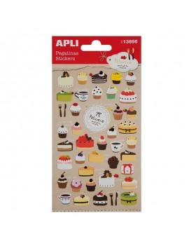 APLI 13896 Самозалепващи стикери - Къпкейкове и торти