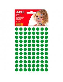 APLI 13233 Самозалепващи зелени кръгчета Ф10,5мм