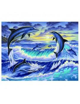 Рисуване по номера Изгрев с делфини, KSG Crafts